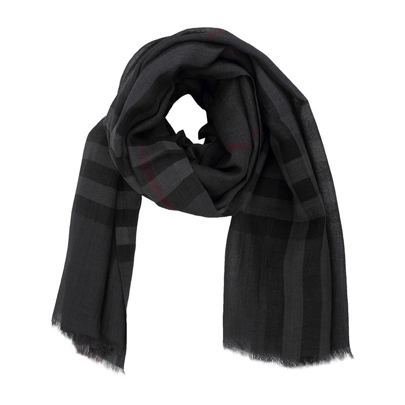 BURBERRY中性羊毛灰黑色围巾