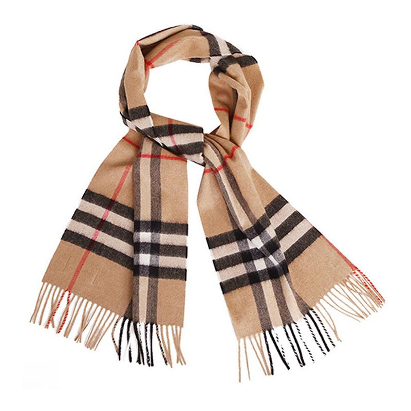 BURBERRY 中性款驼色经典格纹羊绒围巾3929522