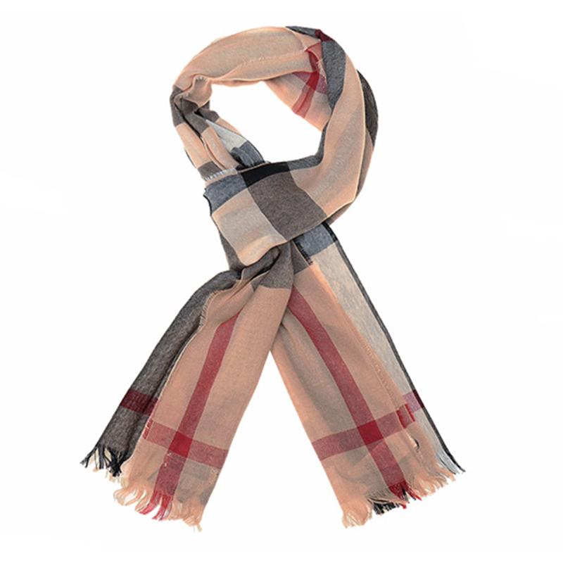 BURBERRY 中性款驼色经典格纹羊绒混纺围巾4004196