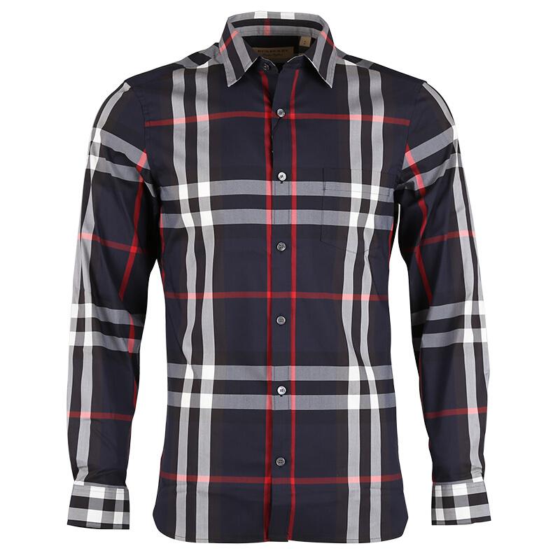 BURBERRY男士棉质藏蓝色格纹长袖衬衫4006731