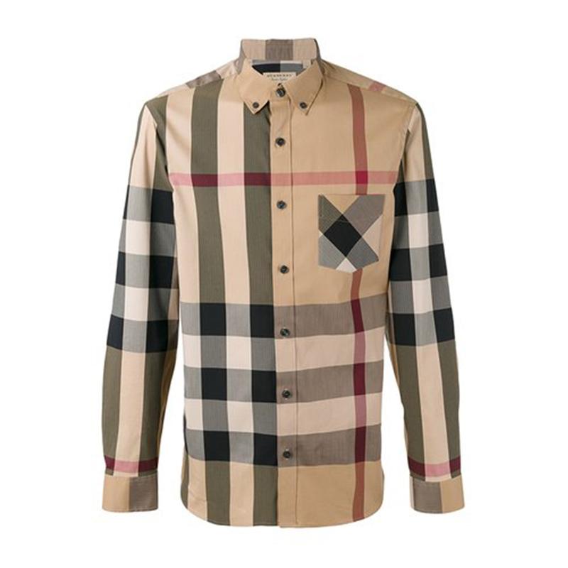 BURBERRY男士棉质棕色格纹长袖衬衫4045831